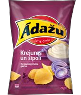 Picture of Crisps with the taste of sour cream and onion 160g (in box 18)