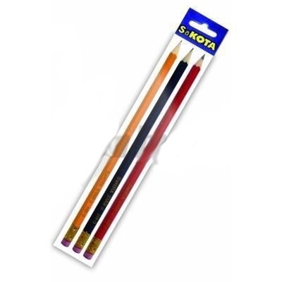 Picture of PENCIL WITH RUBBER HB GRAPHITE 3 pieces SAKOTA (in box 20)