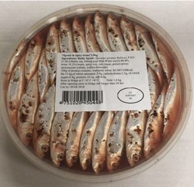 Picture of IRBE - Sprats in spicy sauce 1kg (bretlinas garsvielu salijuma 1kg) (BOX*6)