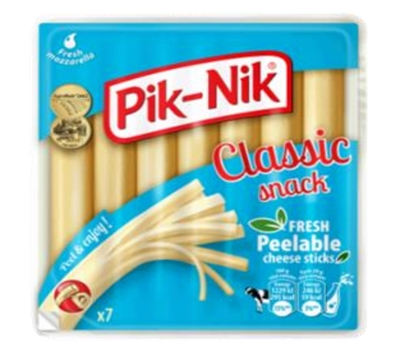 "Picture of Zemaitijos Pienas - ""Pik-Nik Classic"" fresh cheese  strings, 140g (in box 8)"