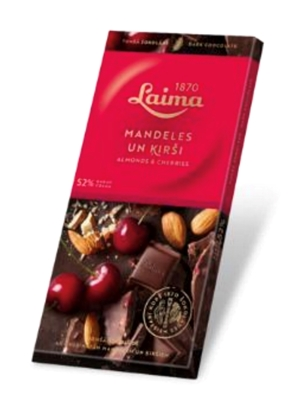 Picture of LAIMA - Dark chocolate 52% with cherries and  almonds, 100g (In box 17)