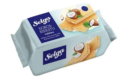 """Picture of LAIMA - Wafers """"Selga"""" with coconut taste, 180g (box*14)"""