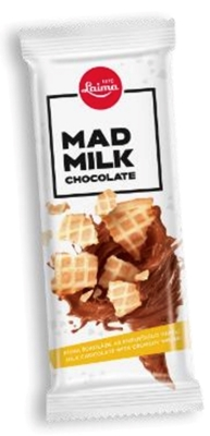 Picture of LAIMA - MAD MILK milk chocolate with crunchy  wafer, 90g (box*18)