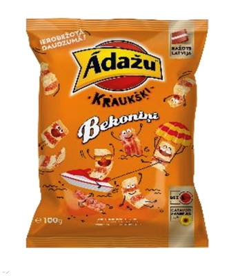 Picture of ADAZU - Corn snacks Krauskigie Becon crisps 100g ADAZU - Chips Lime and black pepper 150g ADAZU - Chips summer Vegetables and cheese  150g (box*18)