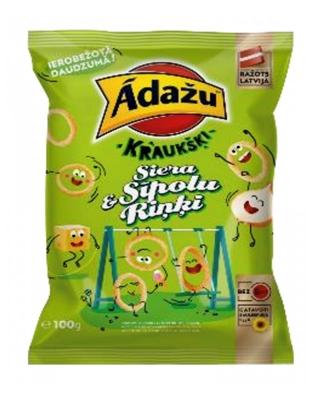 Picture of ADAZU - Corn snacks Kraukšķi Cheese & Onion  rings, 100g (box*18)