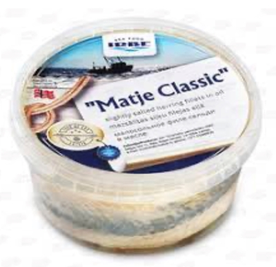 """Picture of IRBE - Slightly salted herring fillets """"Matje Classic"""" in oil, 480g (box*6)"""