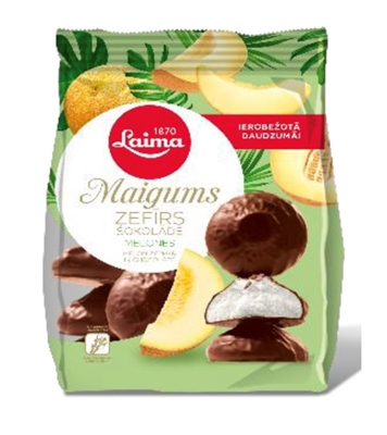 Picture of LAIMA - Maigums Melon marshmallow in chocolate 200g (box*10)