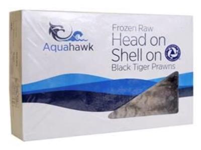 Picture of Aquahawk - Raw Head on Shell on Black Tiger King Prawns 13/15, 1kg (box*10)