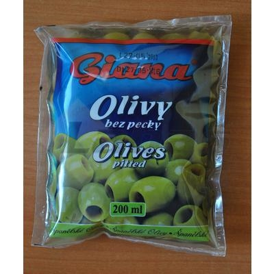 Picture of GREEN OLIVES WITHOUT DONE SPANISH 200ml 195g / PP 70g GIANA BAG