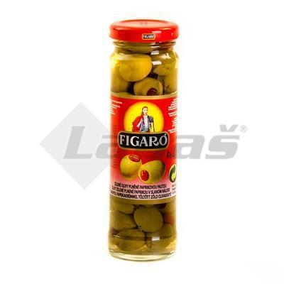 Picture of GREEN OLIVES WITH CAPE 142g / PP 85g FIGARO GLASS