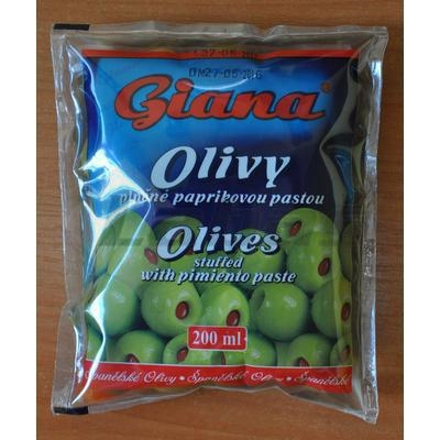 Picture of GREEN OLIVES WITH PEPPER 200ml / PP 80g GIANA BAG