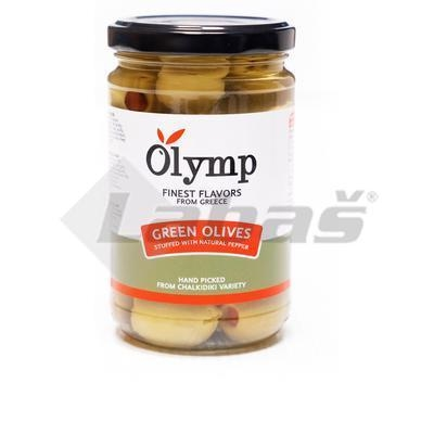 Picture of GREEN OLIVES WITH PEPPER 300g / PP 160g ATI GLASS