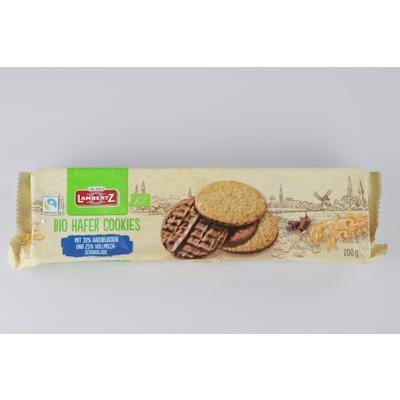 Picture of ORGANIC WHOLEWHE BISCUITS WITH MILK CHOCOLATE 200g LAMBERTZ HAFERCOOKIE VM